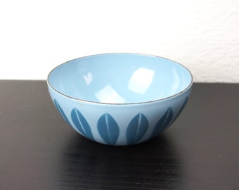 "Vintage Cathrineholm Lotus Bowl Turquoise Blue on French Blue 4"" Enameled Steel, Tiny Nut Snack Serving Bowl Grete Prytz Kittelson 180080"