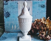 Milk Glass Covered Urn by Westmoreland / English Hobnail Apothecary Jar / Milk Glass Candy Dish / Milk Glass Wedding