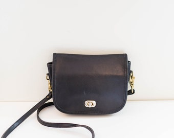 L.L.Bean black leather mini satchel crossbody purse