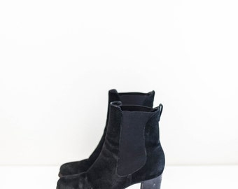 COLE HAAN black suede leather - chunky heel chelsea ankle boots - women's size 6.5