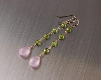 Rose Quartz Peridot Dangly Earrings, Gold Filled, Pink Green Gemstone, Wire Wrapped, August Birthstone, Long Earrings