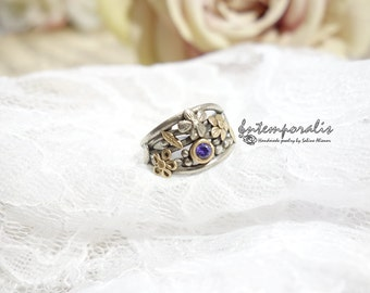 Bicolore bronze and purple cubic zirconium ring, french size 53, OOAK, SABA21