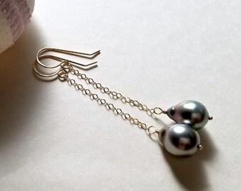 Long Tahitian Pearl Earrings, Grey Tahitian Pearl Earrings, Long Pearl Dangle, Peacock Pearl Drop Earrings, 9 mm Pearls:  Ready to Ship