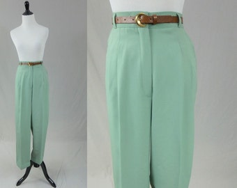 "80s Light Sage Green Pants - High Waisted - Deadstock Unworn w/ Tags and Belt - Counterparts - Vintage 1980s - 30"" waist"
