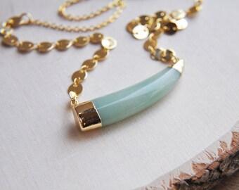 Aventurine Necklace, Aventurine Horn, Horn Necklace, Horn Jewelry, Short Necklace, Bohemian Necklace, Boho Necklace, Statement Necklace
