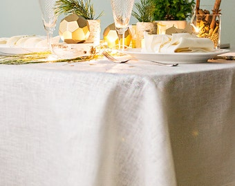Gold TABLECLOTH - Wedding Table Decor - White Tablecloth - Sparkly Gold Tablecloths - Metallic Table Decor - Linen Tablecloth - Easter Decor