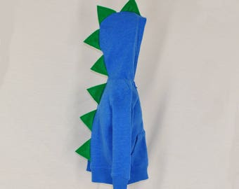 Blue Dinosaur Hoodie - With Green Spikes - Sizes 2T Through 4T Available