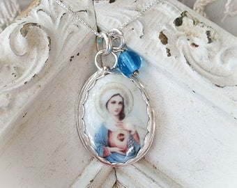 Sacred Heart of Virgin Mary Porcelain Sterling Oval Pendant Catholic Faith Necklace