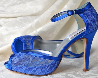 "Wedding Shoes - Blue Wedding Lace Shoes- 3 1/2"" Heels- Peep Toe Wedding Shoes, Womens Wedding Shoes - D'Orsay Bridal Shoes, Custom Colors"