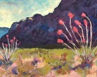 Ocotillo Desert - Painting, Original Oil, Oil Painting, Desert, Ocotillo, Flowers,