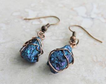 Chalcopyrite (Peacock Ore)/ Bornite Raw Stone Wire Wrapped Dangle Earrings