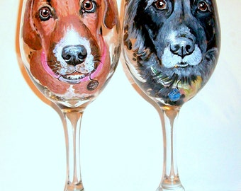 Pet Portrait Hand Painted Wine Glasses of Your Dog, Cat, Horse, On 2 -  20 oz. Custom Glassware Pet Lover Dog Lover Gift for Her Birthday