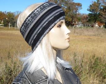 Bohemian Knit Headband Head Warmers Snow Hat Black & White Cotton Hairband Muff, Warm Winter Ski Snow Tube Hat A1563