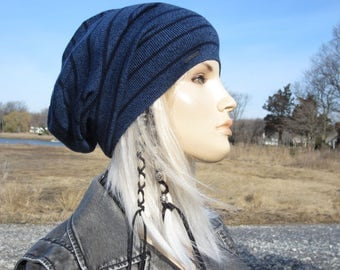 Light Weight Slouch Beanie Italian Merino Wool Unique Trendy BOHO Clothing Style Slouchy Hat Royal Blue Striped for Women A1794