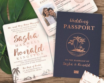 Destination Wedding Passport Invitation Set in Rose Gold Watercolor by Luckyladypaper - Do NOT purchase this listing, see details to order