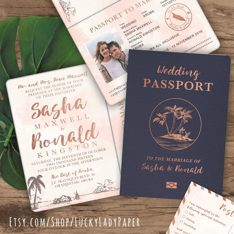 Passport Wedding Invitations: Destination Wedding Passport Invitation Set In Rose Gold
