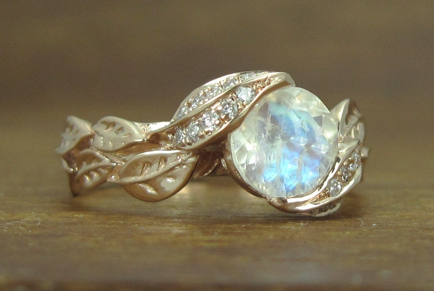 Unique Moonstone Leaves Engagement Ring Natural Leaves Ring