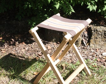 Vintage Fold Up Camping Army Stool Wooden Wood Folding Chair Brown Tan White Striped Canvas Seat Glamping Photo Prop Lodge Cabin Rustic