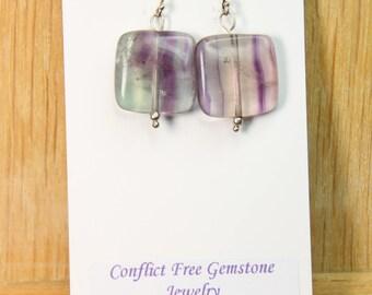 Fluorite Green Purple Colors 18mm Flat Square Gemstone Earrings with .925 Sterling Silver Wire hooks Purple Gemstones Purple Rocks E2158