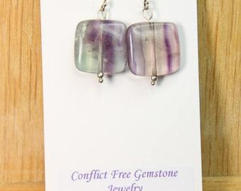 Fluorite Green Purple Colors 18mm Flat Square Gemstone Earrings with .925 Sterling Silver Wire hooks