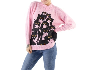 Pink Crazy Kitty Sweater