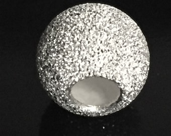 8mm STARDUST Bead - Sterling Silver Round Spacer Bead- 3.3mm Hole - MB25