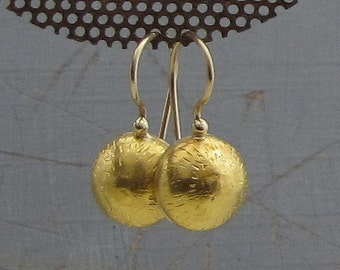 24k Solid Gold Earrings - Gold Dome Earrings - Bridal Gold Earrings