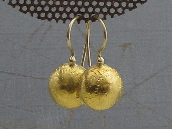 24k solid gold earrings gold dome earrings bridal gold