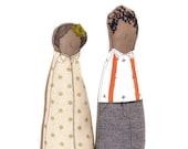 African America Dolls , Personal Portrait , textiles doll , Soft Portrait , Couple gift , Family Portrait , figure doll family , decor doll