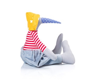 Bird Stuffed Toy , Penguin Rag doll , soft baby toy doll , plushie softie doll , duck soft sculpture , Cuddling soft doll ,blue red mustard