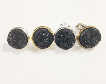 The Druzy Earrings in Black   Black Druzy Earrings   Black Earrings   Black Druzy Jewelry   Druzy Jewelry