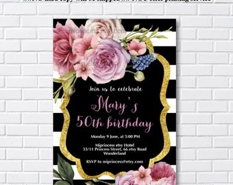 watercolor rose Birthday Invitation, black and white, gold, floral invitation for any age  30th 40th 50th 60th 70th 80th  - card 1088