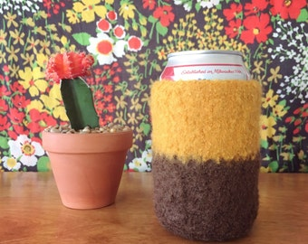 Felted Can Cozy - Mustard and Brown - 100% Wool