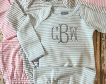 Baby gown with name, twins, monogrammed gown, baby boy gift, baby girl gift, coming home outfit, stripe gown, personalized outfit, sleeper