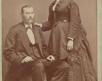 Vintage Man & Woman Carte de Visite (CDV) L.W. Felt Photographer, 1800s