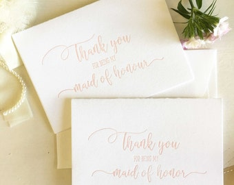 Maid of Honor Thank You Gift - Maid of Honour Thank You Card - Wedding Party Thank You Card - Maid of Honor Gift - Maid of Honour Card