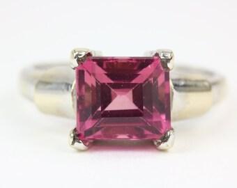 14K Emerald Cut Pink Tourmaline Solitaire Ring, Pink Tourmaline Solitaire Ring, Emerald Cut Solitaire Ring, Pink Tourmaline Engagement Ring