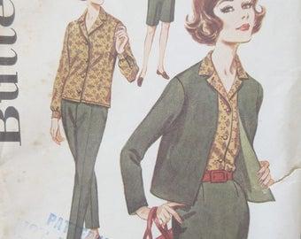 Vintage Butterick 2424 Sewing Pattern, 1960s Jacket Pattern, Cigarette Pants pattern, 1960s Sewing Pattern, Bust 32, Slim Skirt Pattern