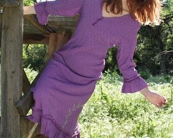 WILDWOOD 1990's Vintage Dress Purple Acorn Print April Cornell Lace