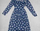 Vintage 1980s LAURA ASHLEY Mother & Child navy blue floral collared flannel dress, size 11-12 years old