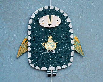 Home décor, Kids room décor, Jumping Jack, wood wall art, ornament, wall painting, night hedgehog