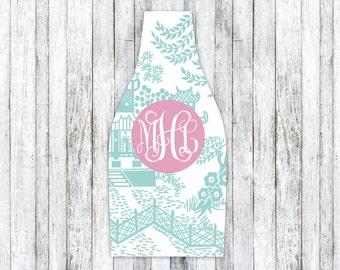CHINOISERIE personalized monogram bottle beverage insulator - zippered back for longnecks - weddings, bachelorette, parties, beaches