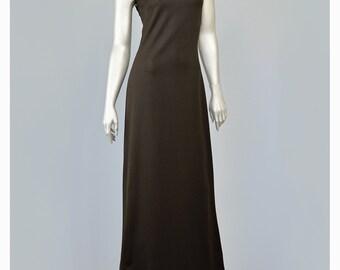 Vintage 70s Maxi Dress • Asian Style Dress • Long Brown Dress • High Collar Dress • A Line Dress • Mod Maxi Dress • 1970s Dress • Mod Dress
