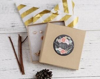 Merci Chalkboard stickers, Water Resistant Matte Lamination Finish, Pastel Flower Stickers, Round Cut Sticker  Etsy Sellers, Wedding, Party