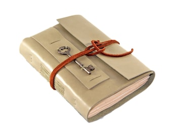 Light Sage Green Journal with Tea Stained Paper and Skeleton Key - Ready to Ship -