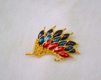 1990s Enamel Hedgehog Brooch
