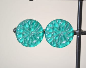 1950s Teal Green Lucite Clip Earrings