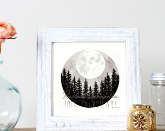 Super Full Moon Illustration- Giclee Fine Art Print - Pen and Ink Illustration - Full Moon Drawing - Artist Rachael Caringella