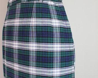 1950s plaid pencil skirt - 50s wiggle skirt / blue & green plaid skirt - vintage tartan plaid skirt / vintage 50s summer skirt