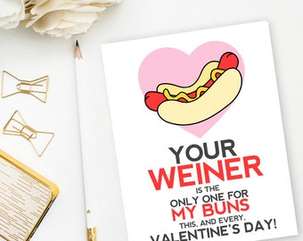 Funny Valentine's Day, Romantic, Love Card: Weiner/Buns - Pink & Red